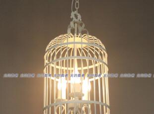 地中海 美式田园 白色鸟笼铁艺吊灯 卧室灯餐厅灯门厅灯书房灯,灯具,