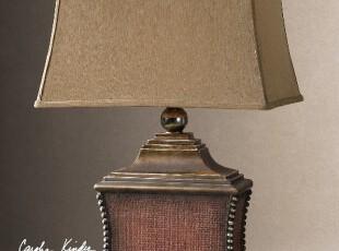 【纽约下城公园】暗红色格纹铆钉装饰灯座台灯/床头灯,灯具,