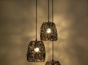 三头组合田园吊灯客厅灯具餐厅灯酒吧吊灯藤艺吊灯编织装饰灯饰,灯具,