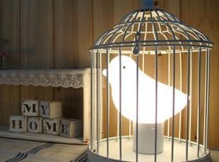 「朱朱家园」韩国直送*鸟笼造型装饰气氛灯/床头台灯SS549,灯具,