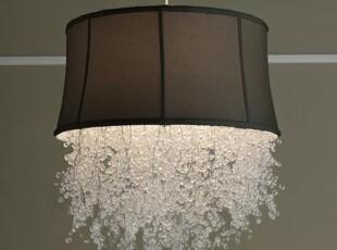 简单的奢华  微透水晶星点垂饰艺术大号吊灯黑白两色,灯具,