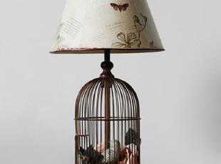 【东游记.空间细节】我的乡村风.做旧全铁质鸟笼台灯,灯具,
