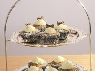 欧式铁艺 双层蛋糕架/点心盘/水果盘/糕点架 婚庆用品 餐厅摆设,烘焙,