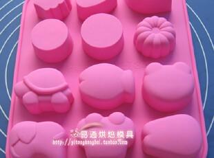 12连花叶动物模 硅胶蛋糕模具 果冻布丁 手工皂 烘焙工具,烘焙,