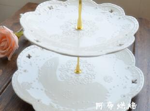 ZAKKA欧式 白色蕾丝陶瓷蛋糕盘双层下午茶蛋糕架展示架 浮雕花纹,烘焙,