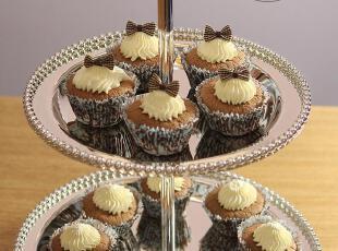 NEW~双侧金属镀银手提双层蛋糕架蛋糕盘点心架cupcake珠盘,烘焙,