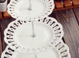 【加粗金属杆】陶瓷三层蛋糕架/蛋糕盘/水果盘/下午茶点心盘 镂空,烘焙,
