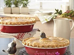 REAENVELOPE外贸陶瓷DIY烘焙点心面包派馅饼蛋糕盘红色波浪边烤盘,烘焙,