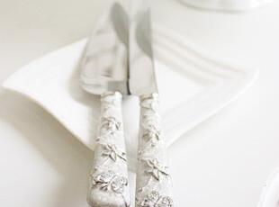 韩国正品代购 蝶恋花银色镶钻蛋糕铲/蛋糕刀2件套 多用披萨铲,烘焙,