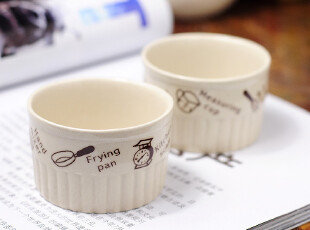 田园牧歌 陶瓷厨房用品 米色陶瓷布丁模 烘焙蛋糕 模具,烘焙,