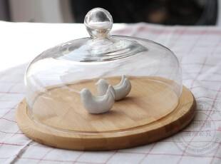 宜家 西点蛋糕盘子 竹制/点心盘/零食盘/蛋糕架/水果盘 带盖玻璃,烘焙,