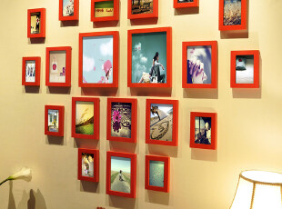 麦秋 结婚礼物 实木照片墙 相框组合 相框墙 心形照片墙,照片墙,