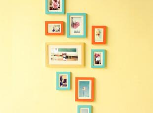 包邮照片墙 创意9框组合实木相片墙 竖版相框墙 0209款 适合侧墙,照片墙,