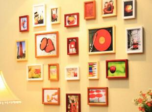 实木相框墙 温馨心形组合创意 照片墙 相片墙 照片组合 包邮!,照片墙,