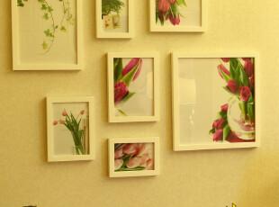 【照片墙创意】实木相框 纯白相片墙 7框相框墙餐厅创意,照片墙,