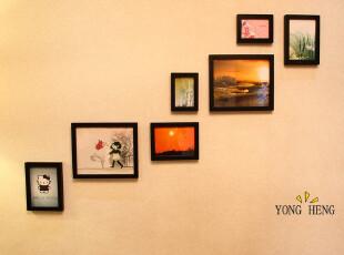 【照片墙创意】包邮 实木7框相框墙 相片墙楼梯创意组合,照片墙,