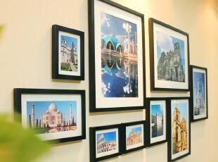 全悦 实木照片墙 客厅大尺寸20寸组合相框墙 创意相片墙9QY31122,照片墙,