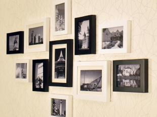 【超优汇】11框客厅小墙面照片墙 相框墙 实木相片墙包邮 H801MD,照片墙,