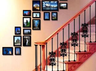 百易尚品 实木17框楼梯适用照片墙 侧墙专用相片墙 相框 像框组合,照片墙,