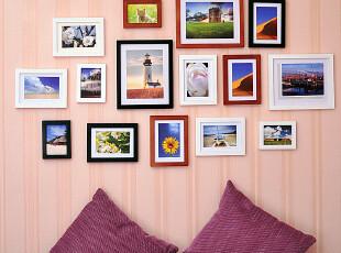 艾美佳 直边实木15框组合 含卡纸 照片墙 相片墙 相框墙组合,照片墙,