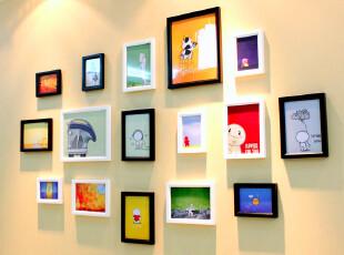 狮家 相框 独家创意宜家实木相片墙16框组合 照片墙  像框墙组合,照片墙,