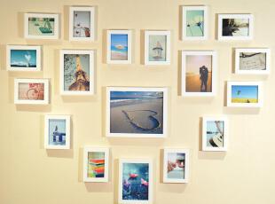 画之坊 温馨时尚浪漫风格 18框心形照片墙相框墙 创意组合 送图片,照片墙,