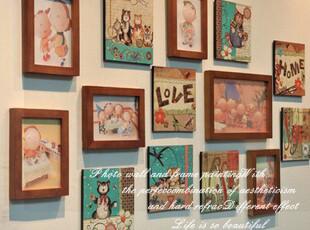 左顾特价包邮客厅装饰画实木照片墙无框画相框墙相片墙相框组合,照片墙,