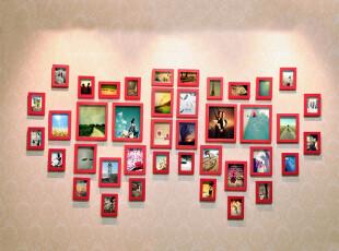 麦秋MaiQiu 实木照片墙 相框组合 相框墙 二心双飞组合,照片墙,