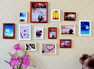 13框欧式实木照片墙 相框组合墙 相片墙 创意家居 相框墙特价包邮,照片墙,