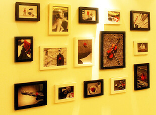 金鼎 实木照片墙 相框墙 相框组合 创意百搭15框包邮送画,照片墙,