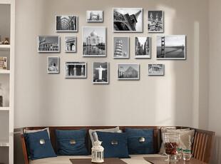 包邮!景宇品牌高级铝合金15框组合相片墙相框墙照片墙送画芯,照片墙,