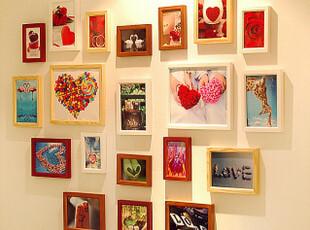 新婚婚房 实木心形照片墙 相框墙 相框组合心形适合放生活结婚照,照片墙,