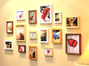 适合放生活照的实木相框墙组合 相片墙 照片墙 相框组合483,照片墙,