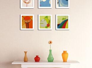 6框组合 非主流迷你画有框画相片墙照片墙儿童房走廊玄关,照片墙,