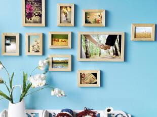聚 小清新风格 实木相框组合/相片墙/松木相框墙/温馨组合/照片,照片墙,