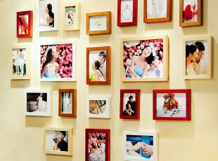 艾美佳 心形最温馨 实木照片墙 心形组合创意相框墙20框相片墙,照片墙,