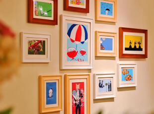 全悦 实木照片墙 创意组合相框墙 欧式客厅相片墙 11SM83x,照片墙,