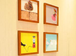 梓晨 实木照片墙 相片墙 相框墙 背景墙 4框组合 HD-004,照片墙,