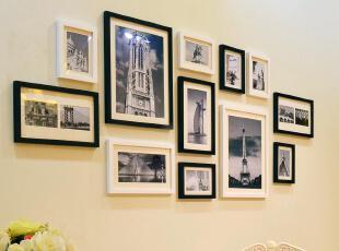全悦 实木照片墙 黑白经典相框墙创意相片墙 12框12SM642,照片墙,