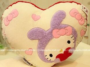 米西公主 正版KT猫咪 凯蒂猫 心型方形抱枕 靠枕 腰靠 车枕,玩偶,