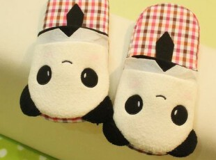 米西公主 笑脸熊猫家居拖 蕾丝猫  毛绒地板拖 保暖拖鞋毛绒玩具,玩偶,