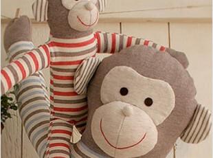 韩国代购手工100%纯棉宝宝儿童专用可爱卡通条纹猴子布艺抱枕睡枕,玩偶,