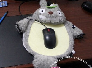 公主恋人 可爱微笑龙猫鼠标垫 可爱毛绒 游戏护腕 鼠标垫办公,玩偶,