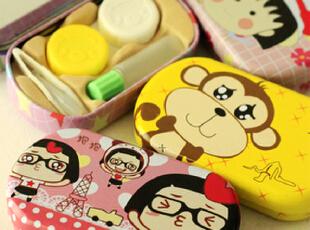 超可爱樱桃小丸子菜菜铁盒款隐形眼镜盒伴侣盒收纳盒,玩偶,