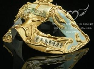 万圣节面具-威尼斯面具-水城美景金色浮雕多面多变面具,玩偶,