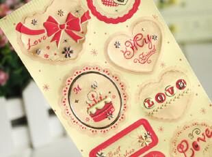 最新款韩版啞铜板纸华丽立体贴 LOVE 铁塔装饰贴表面带银装饰,玩偶,