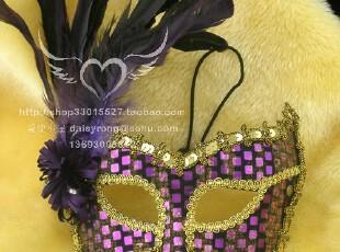 正品威尼斯面具/高档羽毛面具/紫色舞会面具-紫色妖姬yl006c2,玩偶,