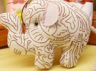 原创手工公仔 布偶 可爱花色版纳谷小象,玩偶,