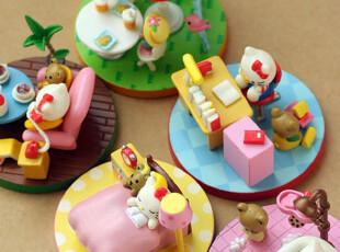 特.日本同步出售 kitty的一天 可爱场景摆件 5款随机发,玩偶,