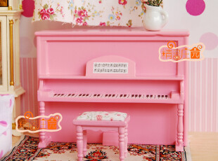 【1:12娃娃屋DOLLHOUSE迷你家具配件】粉色踏板钢琴 甜美典雅,玩偶,